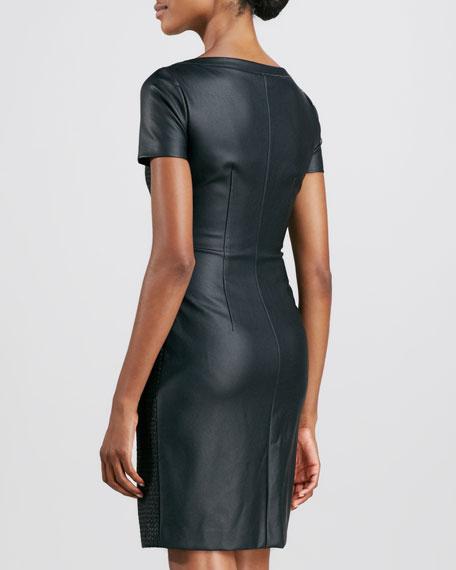 T Tahari Lalita Short-Sleeve Bi-Fabric Dress