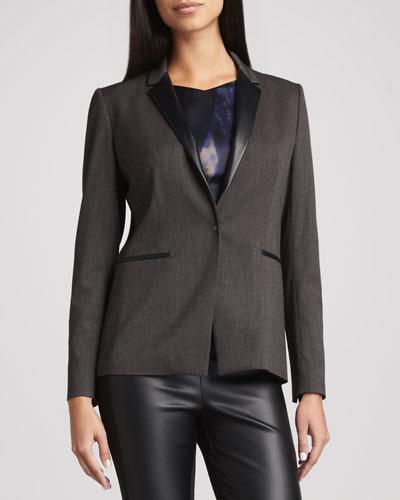 T Tahari Nayarit Leather-Trim Jacket