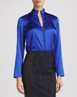 T Tahari Selena Long-Sleeve Mock-Collar Blouse