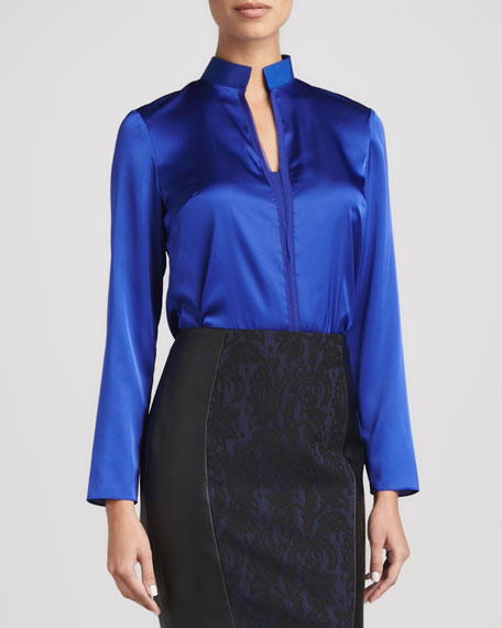 Selena Long-Sleeve Mock-Collar Blouse