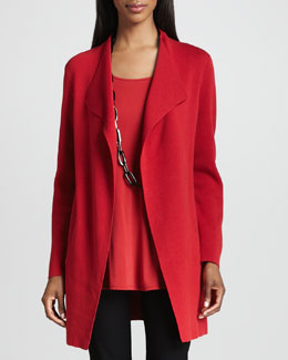 Eileen Fisher Silk-Cotton Interlock Long Jacket, Petite