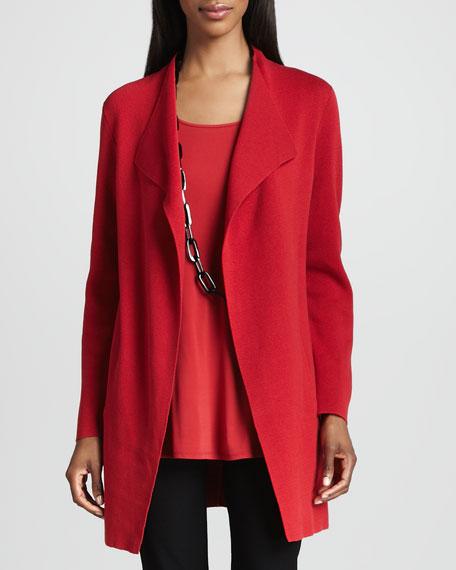 Silk-Cotton Interlock Long Jacket, Petite