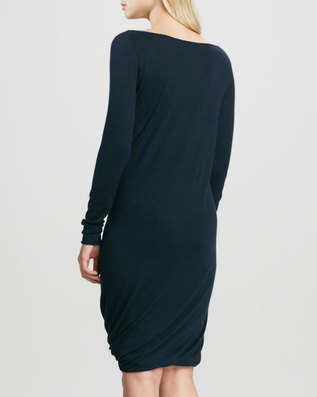 Double-Layer Draped Cashmere Dress, Ink