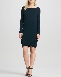 Donna Karan Double-Layer Draped Cashmere Dress, Ink