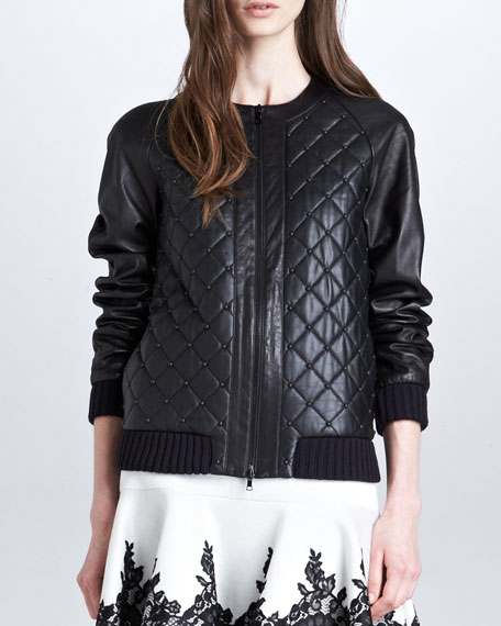Quilted-Leather Studded Bomber Jacket