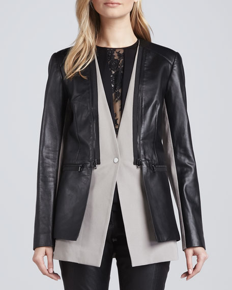 Leather & Twill Layered Zip Jacket