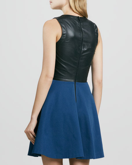 Leather-Back Flare Dress