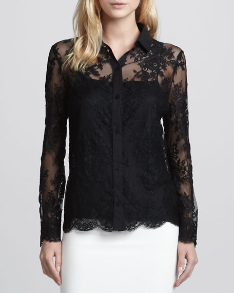 Sheer Lace Scalloped Blouse
