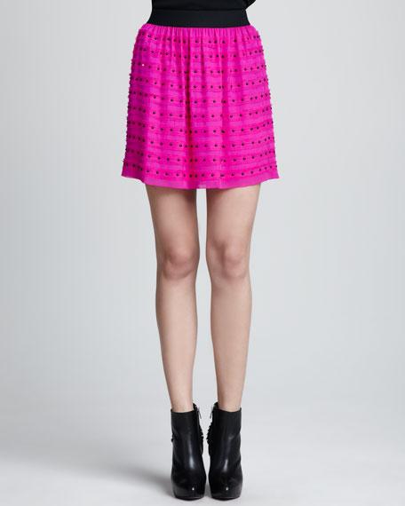 Studded Relaxed Silk Skirt