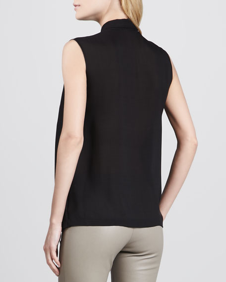Scarf-Neck Sleeveless Top