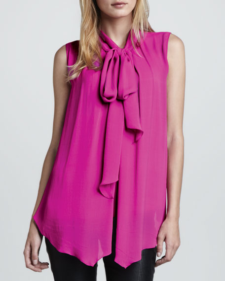 Sleeveless Silk Tie-Neck Blouse