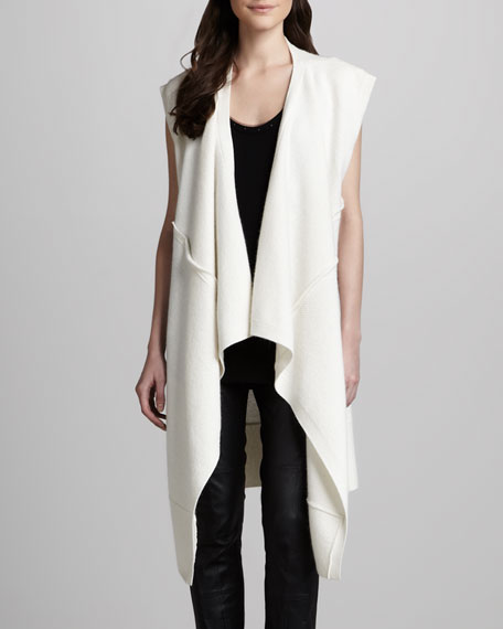 Draped Sleeveless Open Cardigan