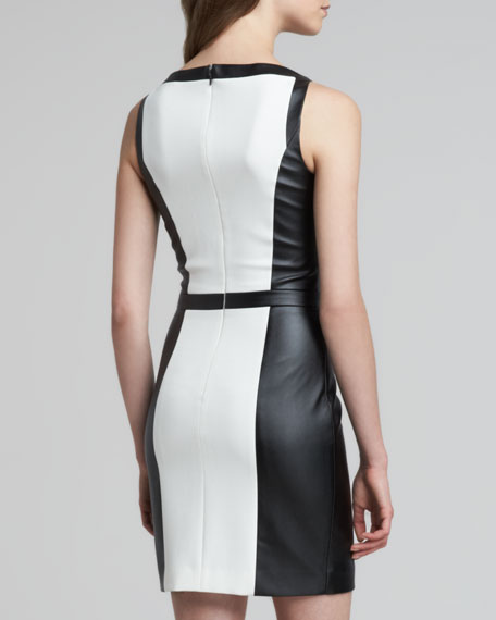 Colorblock Faux-Leather Dress