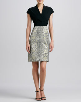 Isda & Co Tarnished Serpent Mixed-Media Dress