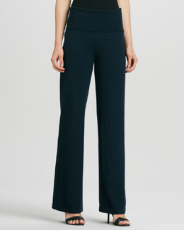 Donna Karan Wide-Leg Yoga Pants, Ink