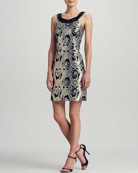 Sydney Tropic Brocade Halter Dress