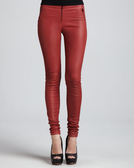 Stretch Leather Leggings, Persimmon