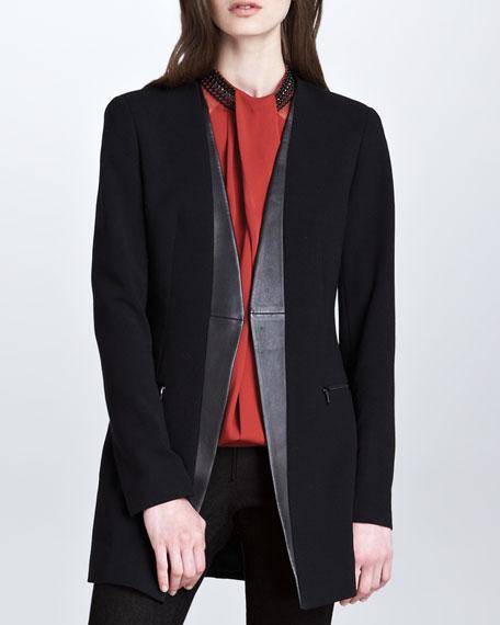 Long Open Faux-Leather-Lapel Tux Jacket