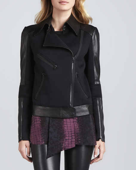 Moto Jacket with Faux-Leather Trim