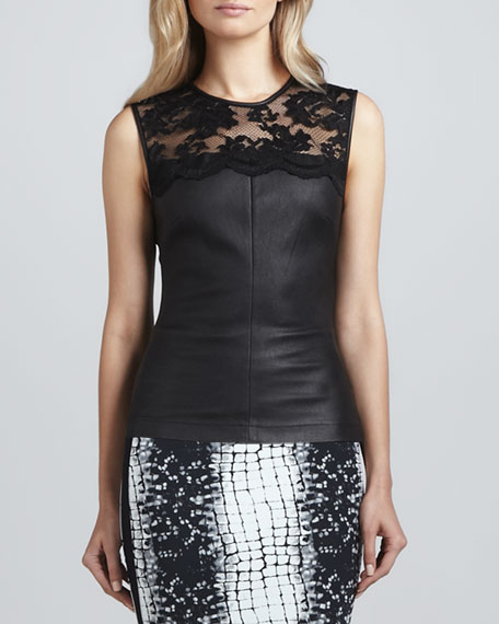 Stretch Leather & Lace Top