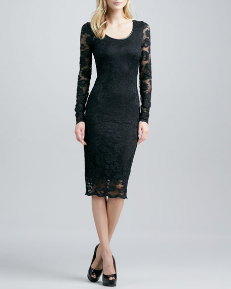 Stretch-Lace Long-Sleeve Dress