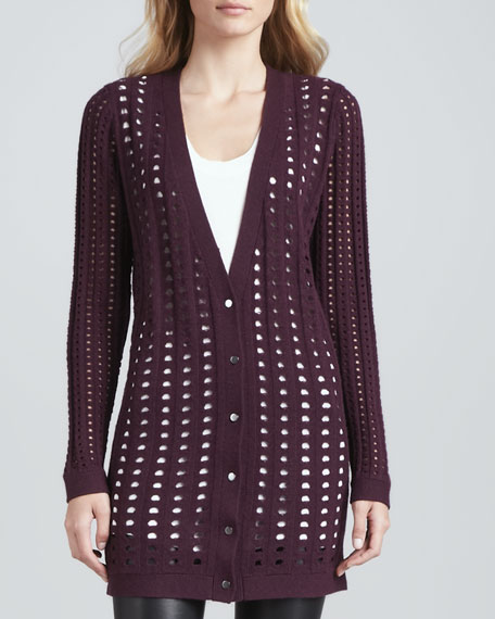 Loose-Knit Cardigan, Maroon