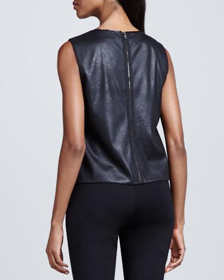 Linette Faux-Leather Blouse