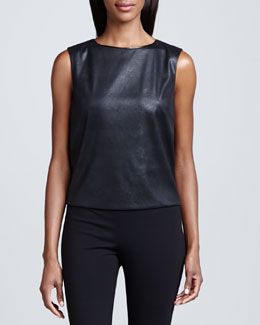 T Tahari Linette Faux-Leather Blouse