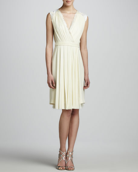 Crepe Dress with Embroidery