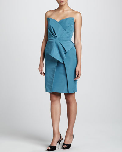 J. Mendel Strapless Dress, Dark Teal