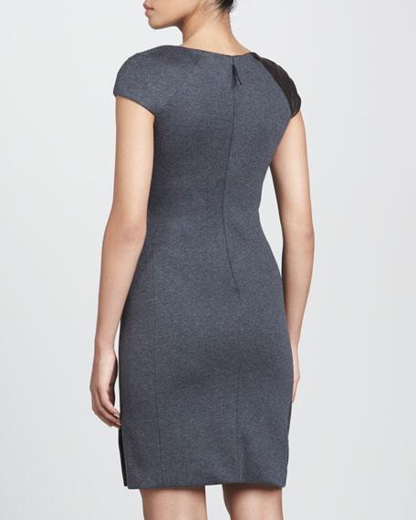 Leather-Detail Jersey Sheath Dress
