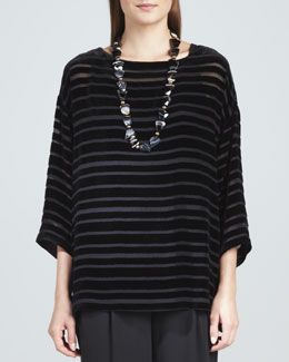 Eileen Fisher Striped Velvet Top