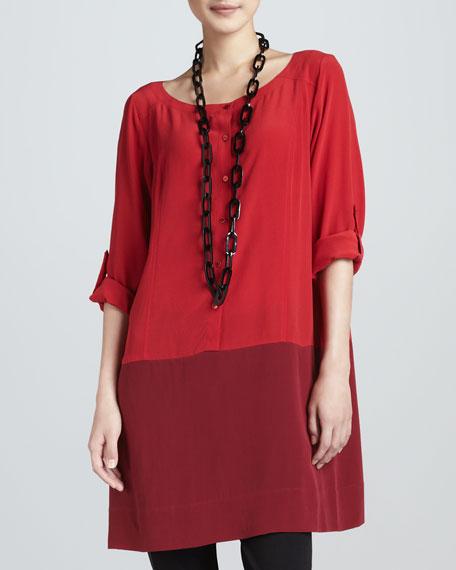 Silk Colorblock Tunic, Lacquer