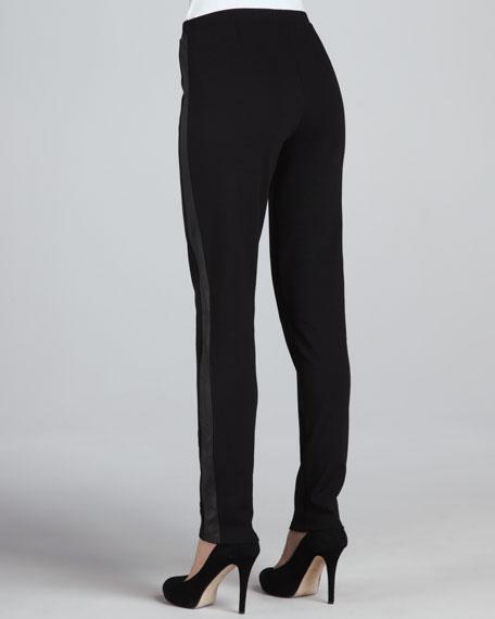 Ponte Skinny Leather-Panel Pants, Petite