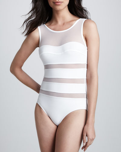 Karla Colletto One-Piece Swimsuit with Mesh Inserts