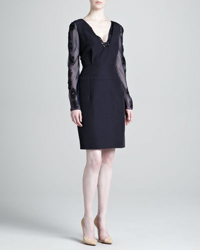 J. Mendel Ottoman Embellished Long-Sleeve Dress