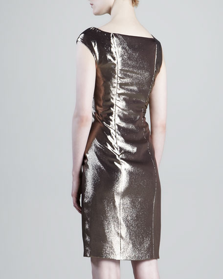 Draped-Waist Metallic Dress
