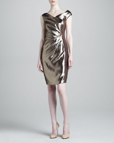 J. Mendel Draped-Waist Metallic Dress