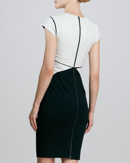 Two-Tone Leather-Bodice Cocktail Dress