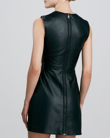 Leather Cutout-Top Cocktail Dress