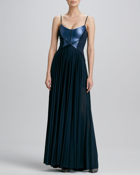 Leather-Bodice Jersey Gown