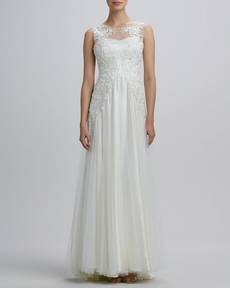 Boat-Neck Embroidered Tulle Gown