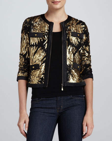 Gold-Ribbon Zip Jacket, Petite