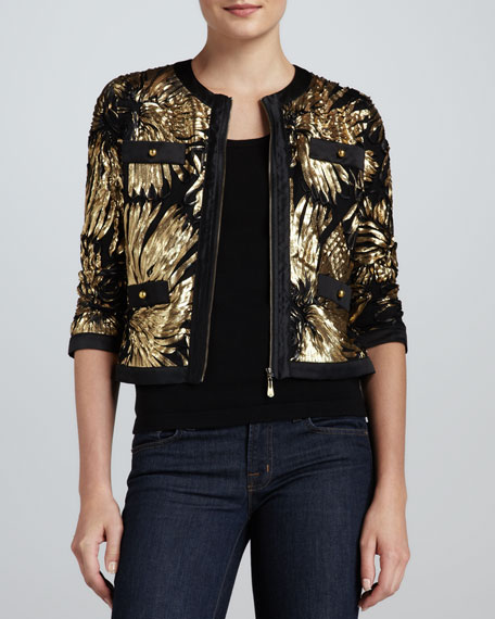 Gold-Ribbon Zip Jacket, Women's