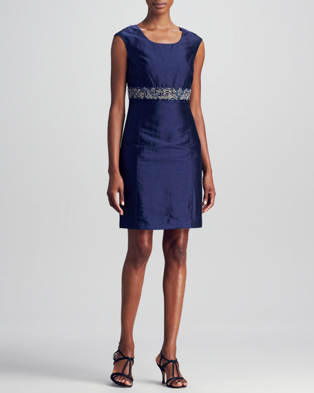 Bead-Trim Dress, Navy