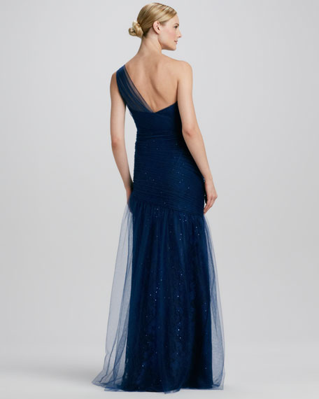 One-Shoulder Lace Gown with Tulle