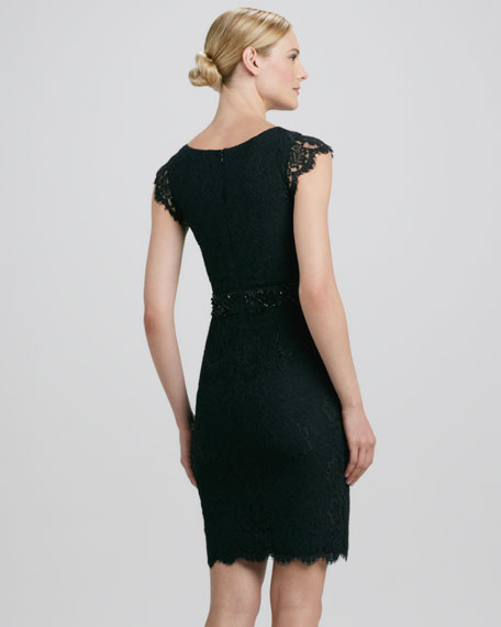 Cap-Sleeve Cocktail Dress with Beaded Waist