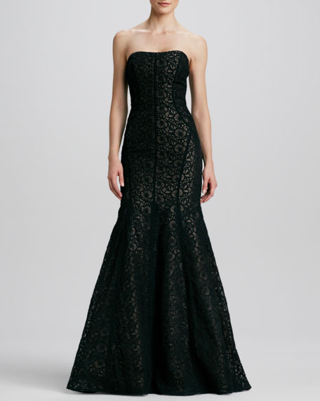 Strapless Embroidered Trumpet Gown