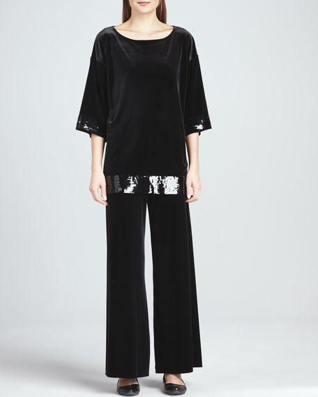 Velour Wide-Leg Pants, Petite