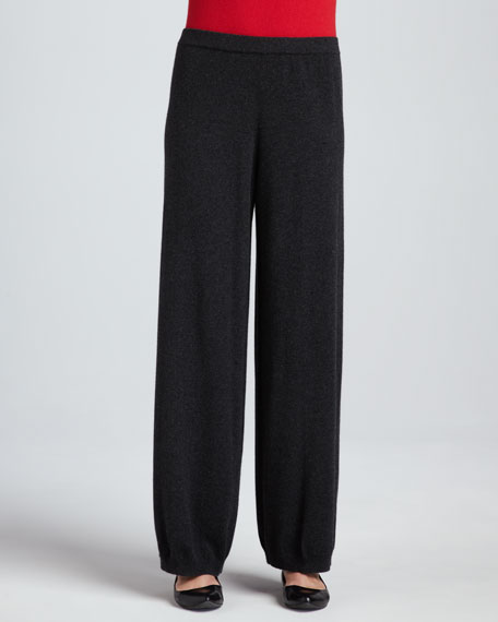 Silk-Cashmere Wide-Leg Pants, Women's